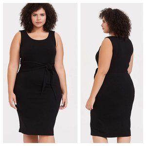 Torrid Jersey Knit Tie Front Shift Dress Black 0